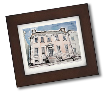 Framed townhouse, Kirkcudbright - (available for sale - Artist: Annie Copland)