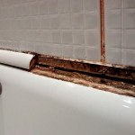 Bath with old trim tiles which had lost their seal