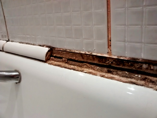 Superb Bath With Old Trim Tiles Which Had Lost Their Seal Part 6
