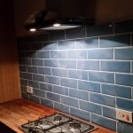 Blue Tile splashback below IKEA VINDIG Cooker hood
